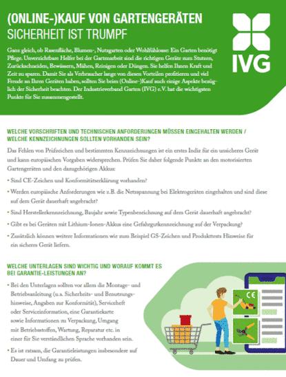 IVG veröffentlicht Flyer zum (Online-)Kauf von sicheren Gartengeräten