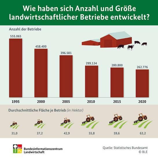 BZL Auf einen Blick: Wie haben sich Anzahl und Größe landwirtschaftlicher Betriebe entwickelt?