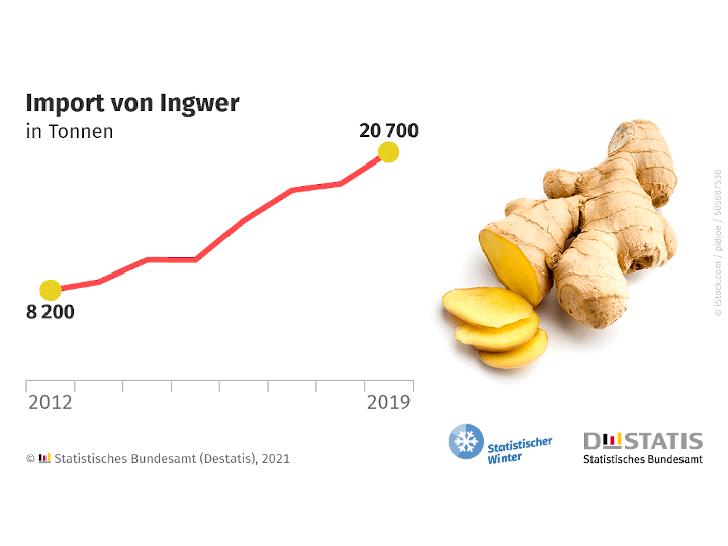 Zahl der Woche: 20 700 Tonnen Ingwer im Jahr 2019 importiert