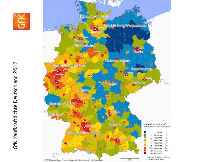 Kaufkraft in Deutschland steigt 2017 um 1,7 Prozent