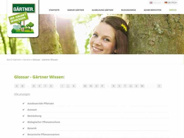 Beruf Gärtner Kampagnen Website