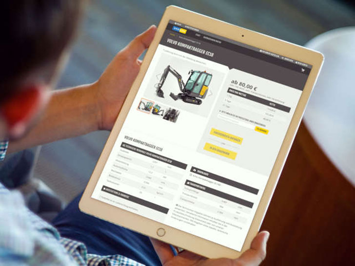 Webshop für Mietmaschinen